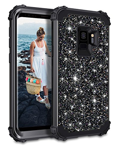 - Casetego Compatible Galaxy S9 Case,Glitter Sparkle Bling Three Layer Heavy Duty Hybrid Sturdy Armor Shockproof Protective Cover Case for Samsung Galaxy S9-Shiny Black