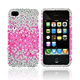 Generic Bling Hard Plastic Case for iPhone 4S/4 - 1 Pack - Non-Retail Packaging - Hot Pink Splash Silver