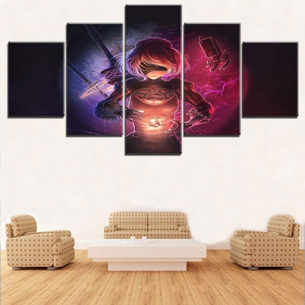 ADDFLOWER Leinwand Wandkunst Wohnzimmer Dekor Spiel Nier: Automaten Moderne Home Hd Druck Bild Malerei Kunstwerk 5 Stücke Malerei Wandkunst