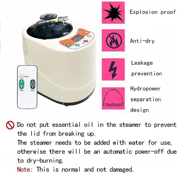 Sauna Steamer Machine /à Pot Portable Home Personal Spa Kit Sauna avec R/éservoir en Acier Inoxydable EU220V Anti-Explosion 2L Sauna Machine Pr/évention des Fuites