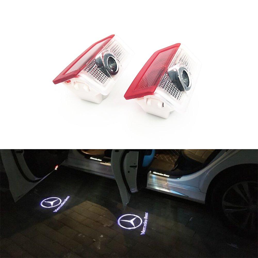 BAILONGJU 2pcs LED Car door courtesy laser projector Logo Ghost Shadow Light compatible with Mercedes Benz E A B C ML Class w212 w166 w176