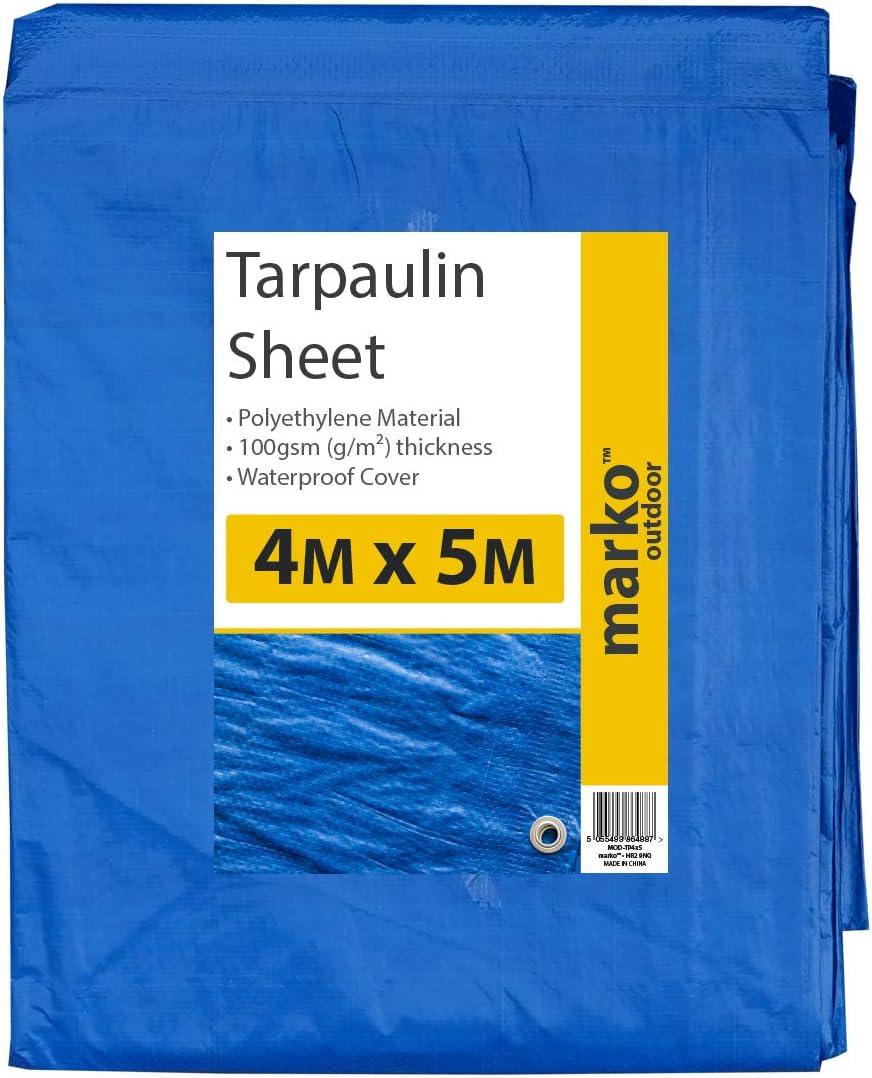 4M x 5M Marko Outdoor Tarpaulin Sheets Heavy Duty Blue Waterproof Strong Cover Ground Tarp w//Eyelets