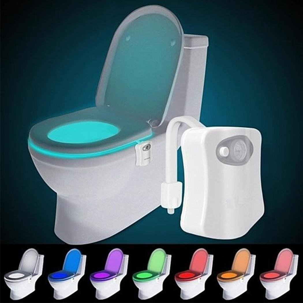 ADOSOUL 16 Colors LED Motion Activated Sensor Automatic Toilet Bowl Night Light New Night Lights