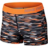Nike Womens Pro 3 Haze Compression Shorts, Bright Citrus/Black/White, M