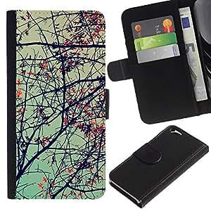 KingStore / Leather Etui en cuir / Apple Iphone 6 / Planta Naturaleza Forrest Flor 69