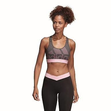 5c4cbce9366c5 adidas Performance Damen Sport BH Dont Rest ALPHASKIN SPR Logo Pack grau  pink  Amazon.de  Bekleidung
