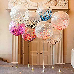 ZEKUI 36″ Confetti Balloons Jumbo Latex Balloon Paper Balloons Filled with Multicolor Confetti for Wedding Baby Shower Party Decor (5pcs)