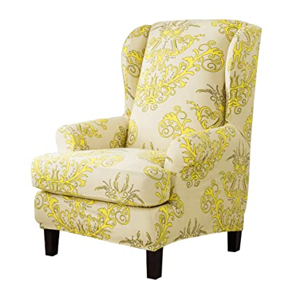 TIKAMI Wing Chair Covers Stretch Spandex Sofa Covers Furniture Protector  With Arms Elastic Bottom(Yellow