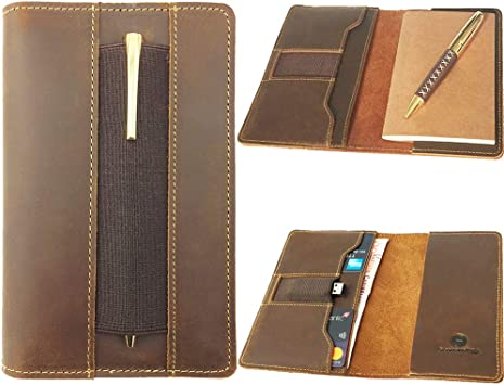 Multiple Pockets for Extra Functionality fits Moleskine Cahier Pocket Sized Notebook Hand Stitched Brown Real Top Grain Leather fits 3.5 x 5.5 Notebooks Leather Field Notes Cover for Memo