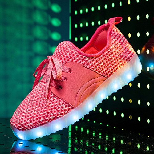 Anclear Garçons Et Filles Low-top Led Allumer Les Chaussures Usb Charge Clignotant Sneakers Rose