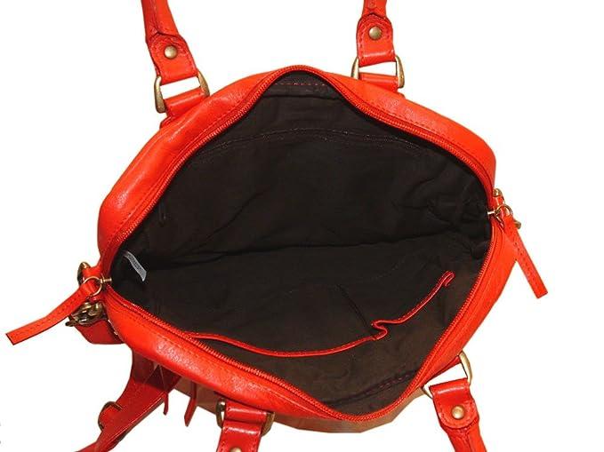 Amazon.com: Color rojo amapola piel Bolso de mano o bolso ...