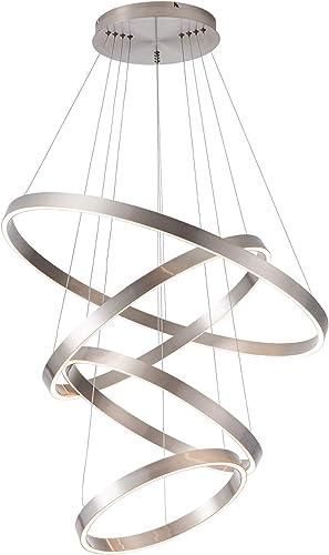 MADEM LED Modern Chandelier 4-Ring Circular Dimmable Pendant Light Flush Mount Pendant Lighting