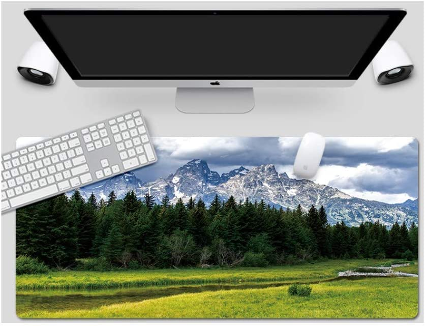 Suitable for Desktop Computer//Notebook,1200x600mmx5mm Mouse Pad Grand Teton Park Style Desk Pad Large Padded Waterproof Non-Slip Keyboard Pad