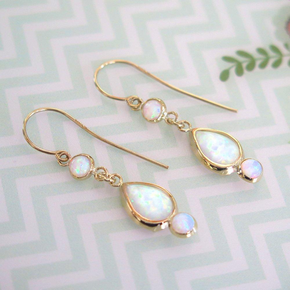 White Opal Earrings - 14k Gold Opal Earrings - Gold Earrings for Women - Gift for Her