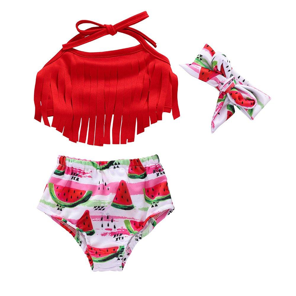 Miwear Baby Girl Swimsuit Tassel Halter Top + Watermelon Shorts + Headband