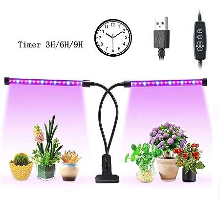 Bespick Lámpara de Crecimiento, 36 chips LED con espectro rojo/azul para plantas de interior, cuello de cisne ajustable (18 W), metal 18 W