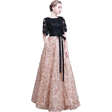 aswomoye Black Lace Prom Dress Short Sleeve A-Line Evening Party Dress - Black -