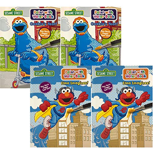 Set of 4 Sesame Street Paint with Water Coloring Book Featuring Elmo and Cookie Monster