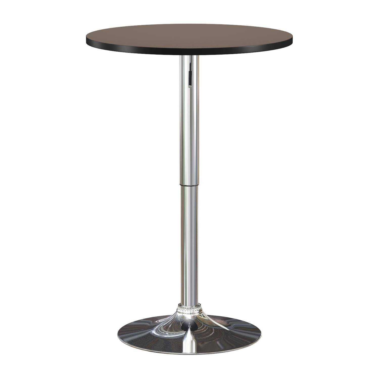 Roundhill Furniture Adjustable Height Wood and Chrome Metal Bar Table, Black