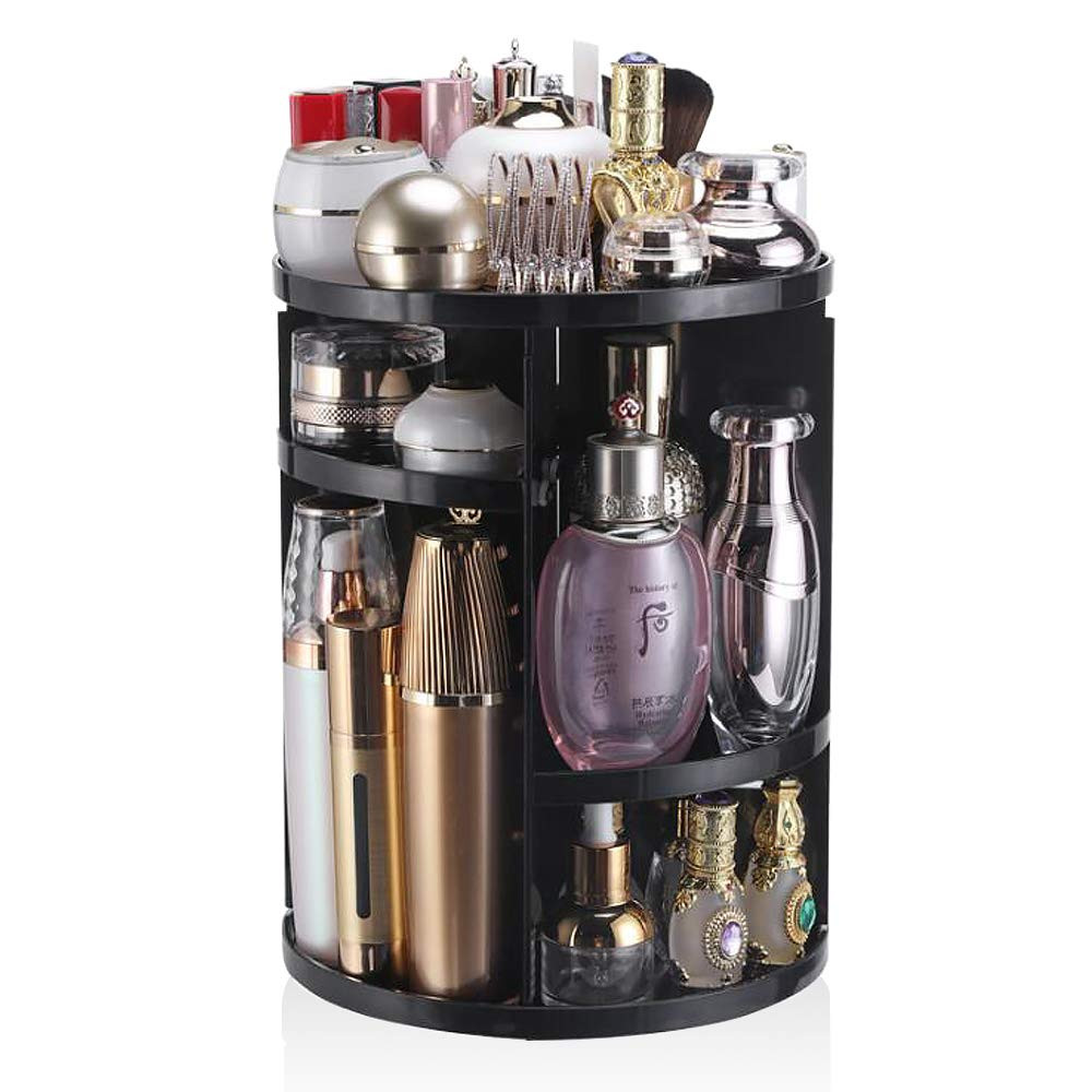 YASSUN 360 Rotating Cosmetic Storage Box, Dressing Table Lipstick Skin Care Desktop Rack, DIY adjustable, large capacity, Black