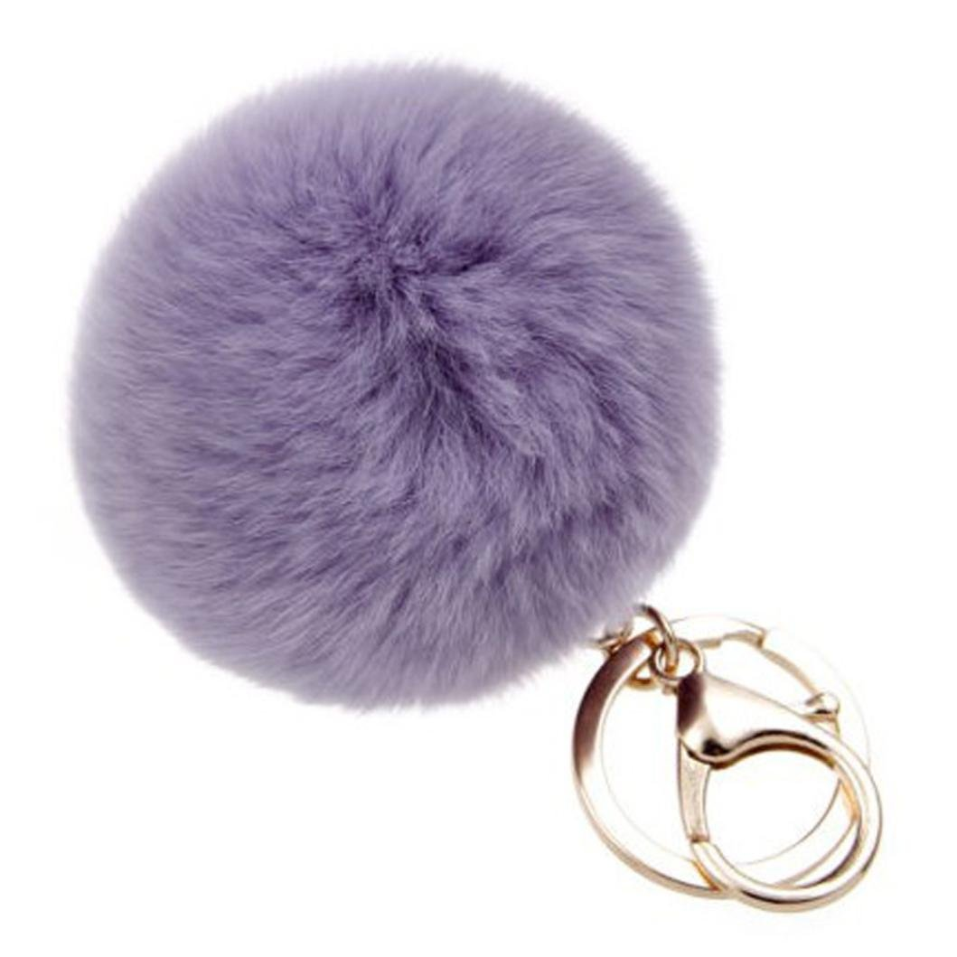 SUPPION Furry Metal Pompom Ball Keychain Bag Plush Car Key Ring Pendant (Purple)