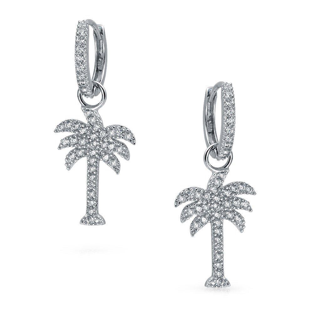 Beach Cubic Zirconia Pave CZ Tropical Palm Tree Kpop Huggie Hoop Dangle Earrings For Women 925 Sterling Silver