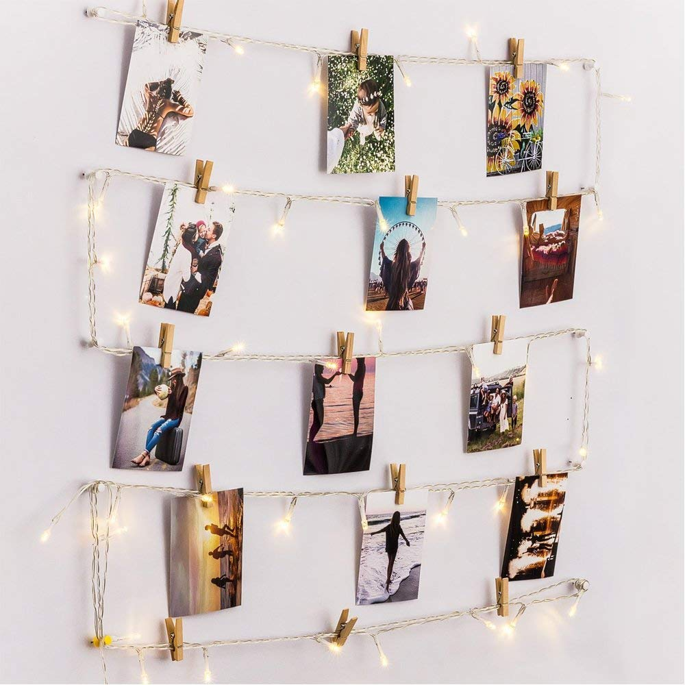 HAYATA [Remote & Timer] 40 LED Wooden Photo Clips String Light Picture Display - 20ft Fairy Battery Operated Hanging Picture Frame for Party Wedding Dorm Bedroom Birthday Christmas Decorations