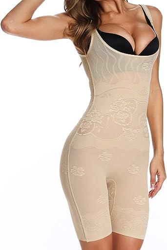 MISS MOLY Damen Shapewear Nahtlos Offene B/üste Bodysuit Taillenformer Figurformender Shaping Bodysuit