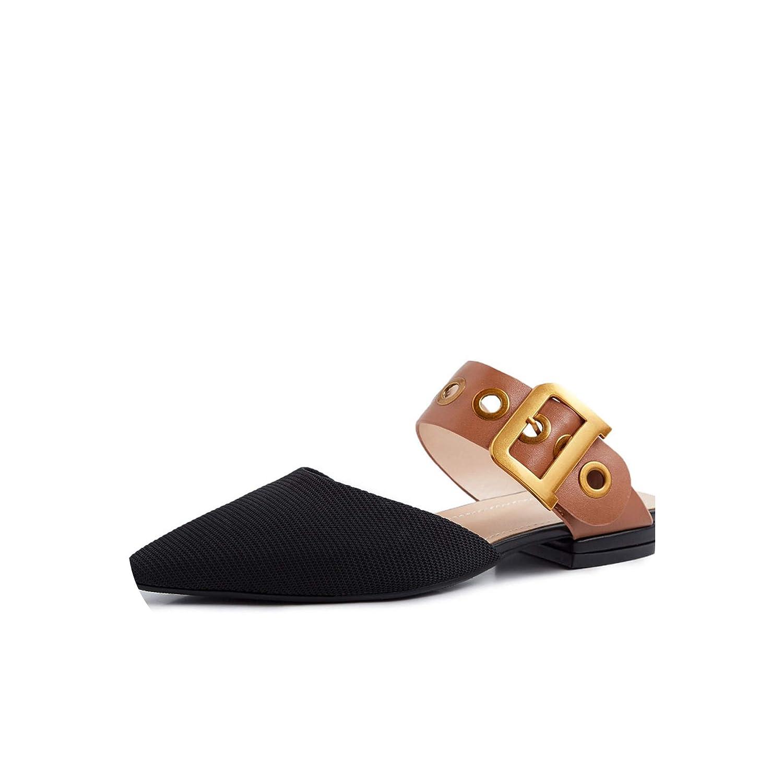 Brown Slippers Woman Buckle Pointed Toe Footwear Casual Slides,