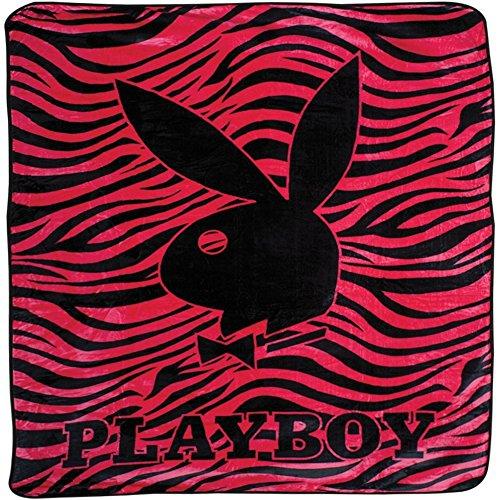 - Playboy - Classic Bunny Pink Zebra Stripes Queen Blanket