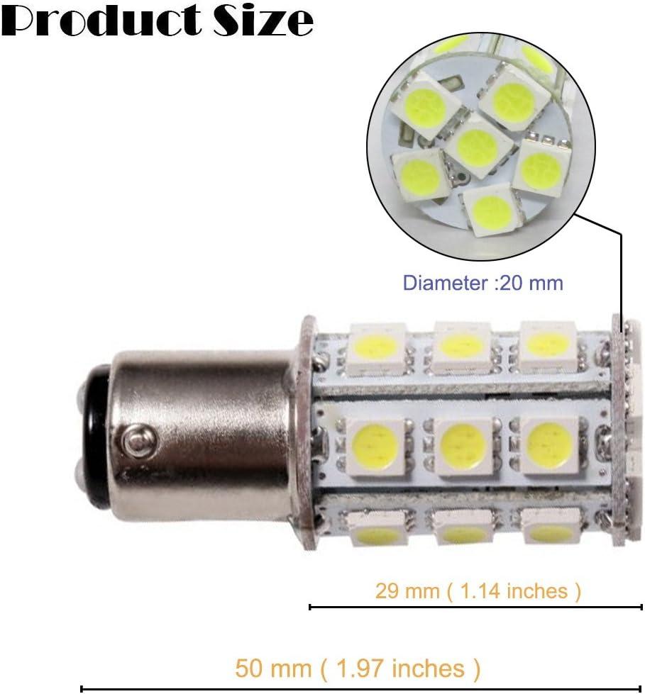 GRV Ba15d 1076 1142 1004 High Bright Car LED Bulb 24-5050 SMD DC 12V Cool White Pack of 10