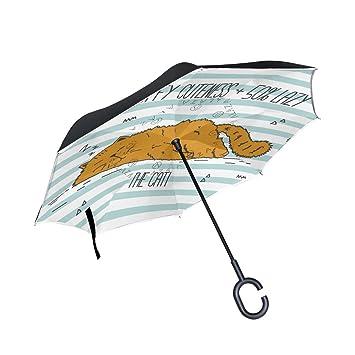 MAILIM - Paraguas Plegable Reversible con diseño de Rayas de Gato (Doble Capa, Mango
