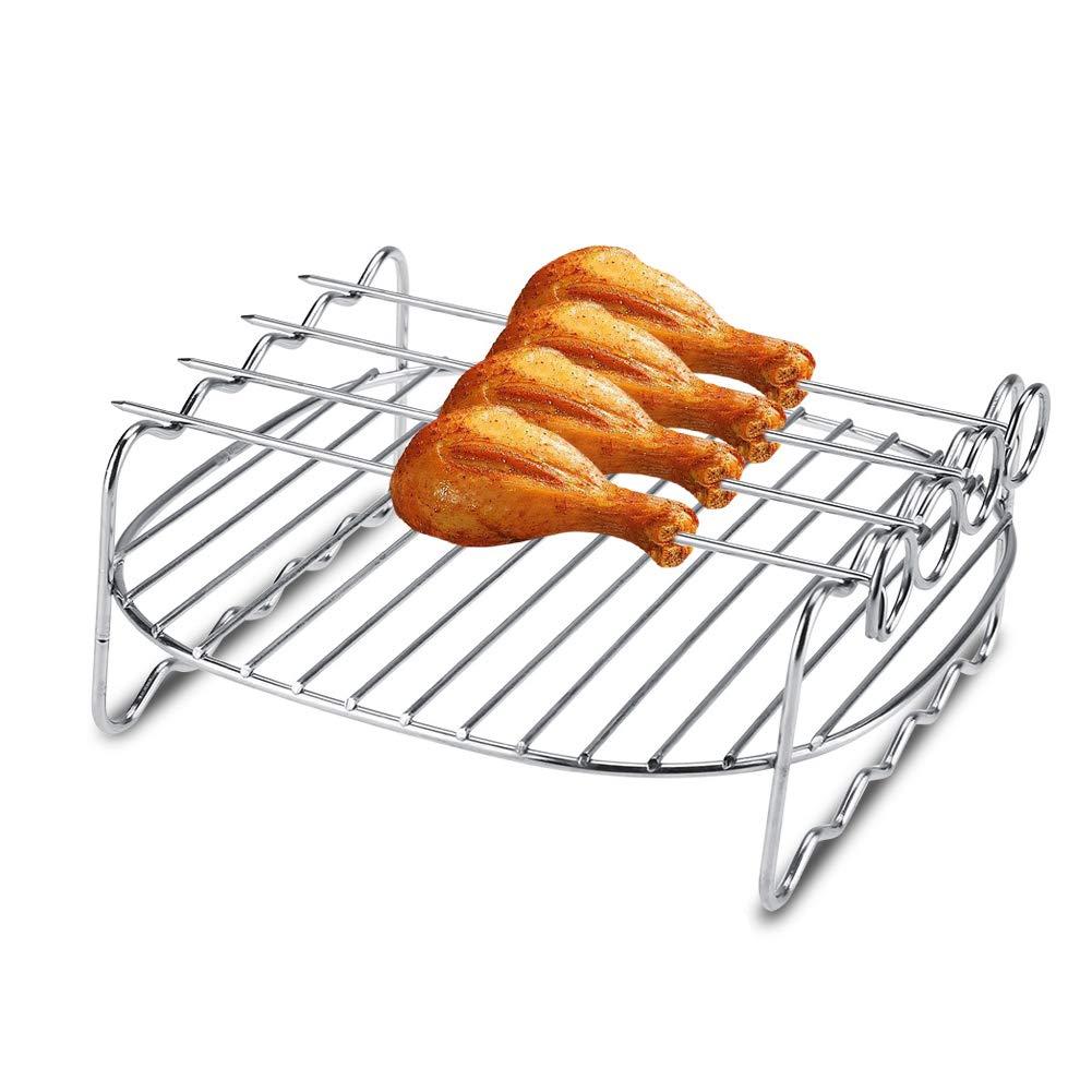 Accesorios de aire freidora papas precios de olla de la freidora en acero inoxidable con 4 pinchos: Amazon.es: Hogar