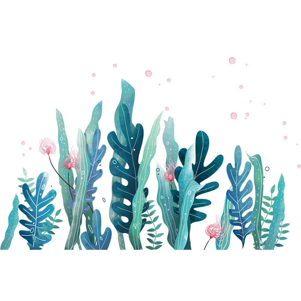 Amaonm Creative Cartoon Removable 3D Under The Sea World Nature Scenery Wall Stickers Ocean Grass Colorful Seaweed Baseboard Wall Decal for Wall Corner Nursery Room Bathroom Living Room (Grass)