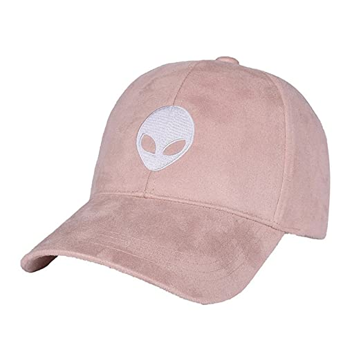 Baseball Cap Snapback Unisex Faux Suede Adjustable Aliens Embroidery  Classic Hat Baby Pink (One size 9638ad016c9