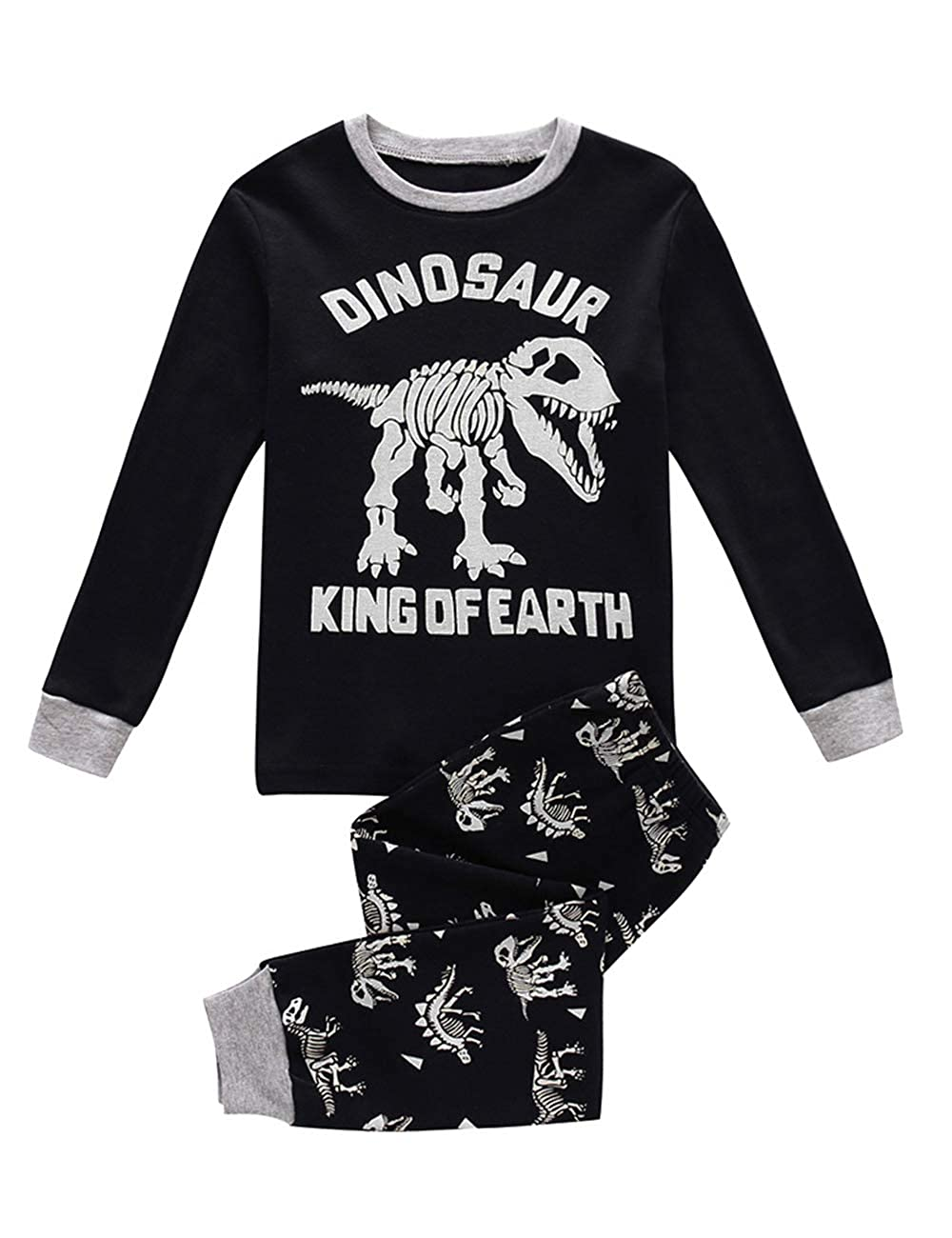 DDSOL Kids Pajamas Boys Halloween Skeleton Glow-in-The-Dark Cotton Sleepwear Toddler Clothes Outfit Size 2-7T