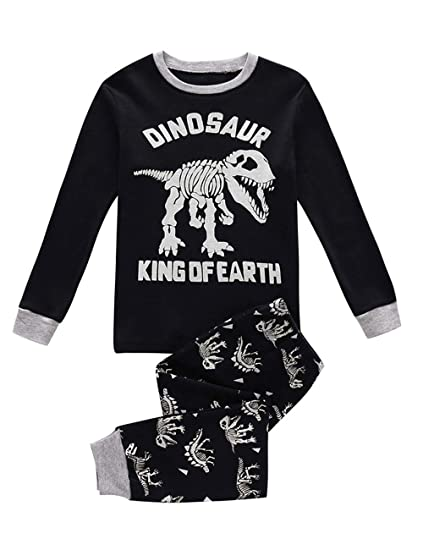 f9b0fb54d7 Kids Pajamas for Boys Skeleton Glow-in-The-Dark Cotton Sleepwear Toddler  Clothes