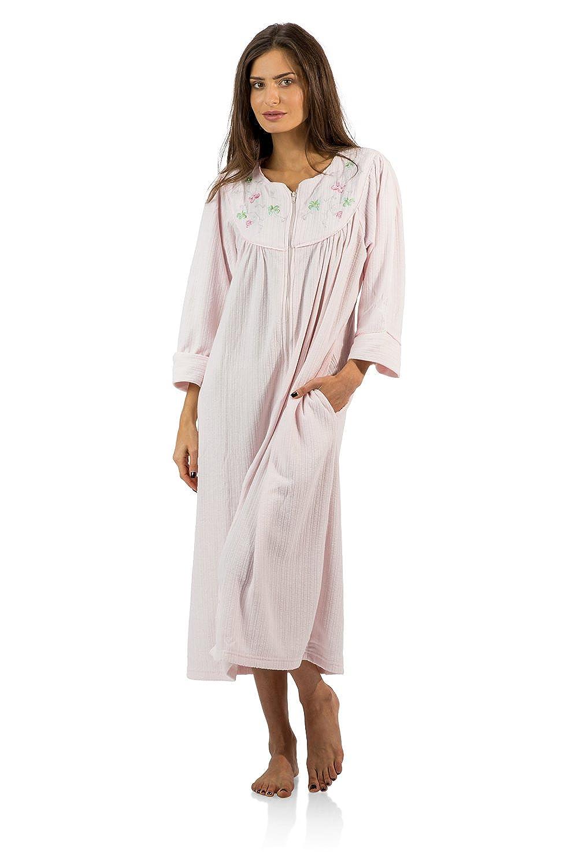 Casual Nights Women's Zipper Front Jacquard Fleece Long Robe Duster Zip Up Housecoat