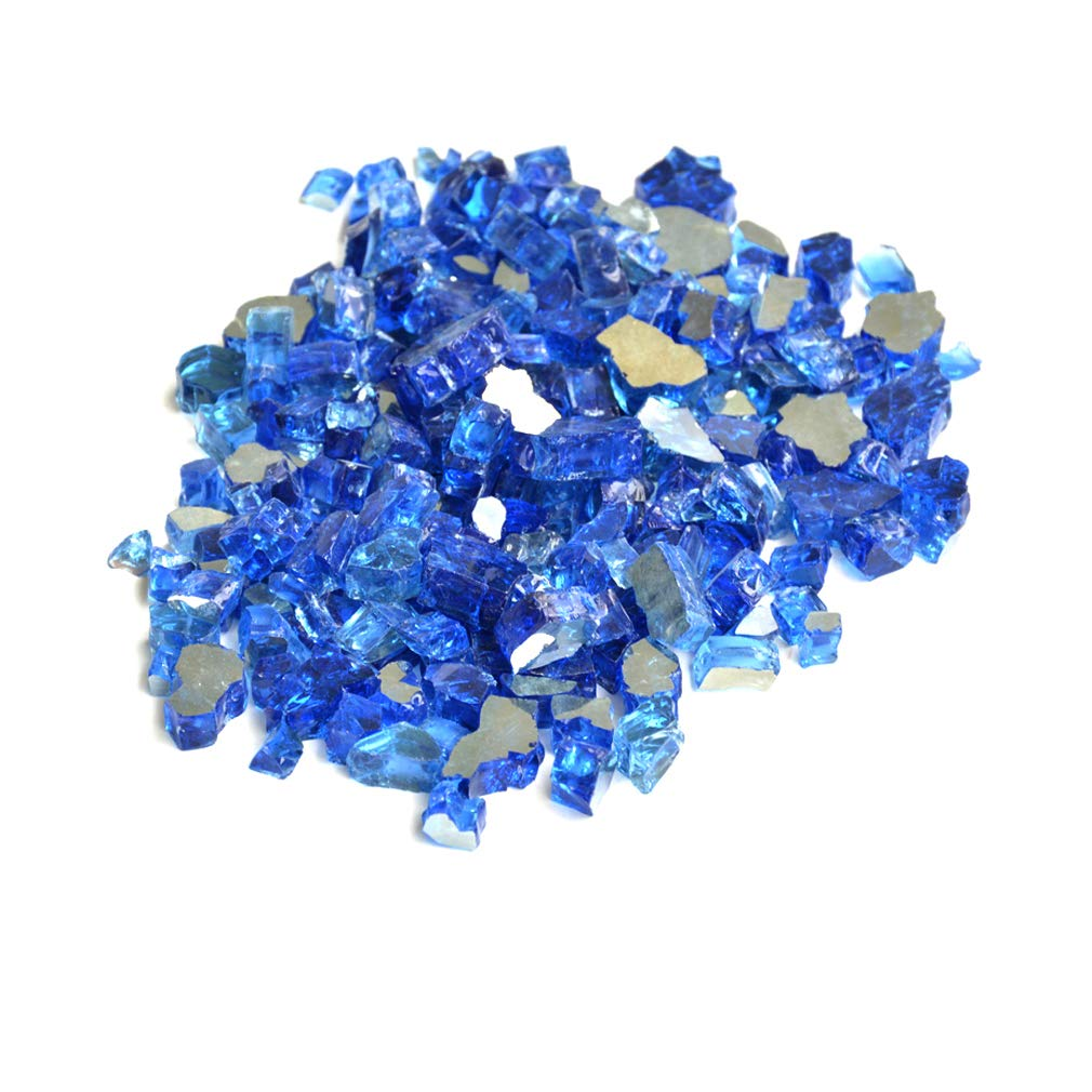Skyflame High Luster 10-Pound Fire Glass for Fire Pit Fireplace Landscaping, 1/2-Inch Caribbean Blue Reflective