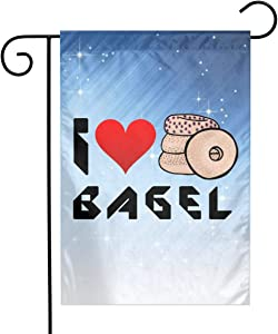 ZZATAA I Love Bagel Garden Flag Decoration Banner Decorative Sweet Home Yard Festival Outdoor 12X18inch