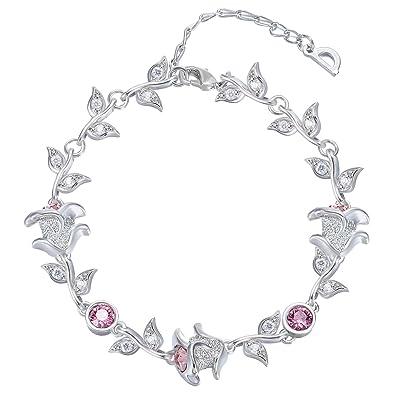 87da061234a0 Amazon.com  FAPPAC Flower Link Bracelet Enriched with Swarovski Crystals -  Rhodium  Jewelry