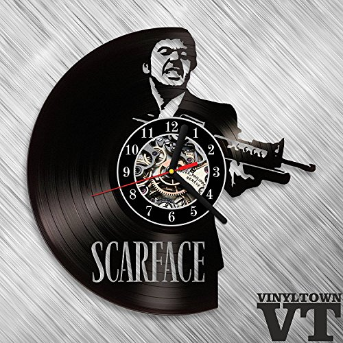 Scarface Tony Montana Vinyl Record Wall Clock Fan Art Handmade Decor Original Gift Unique Decorative Vinyl Clock 12
