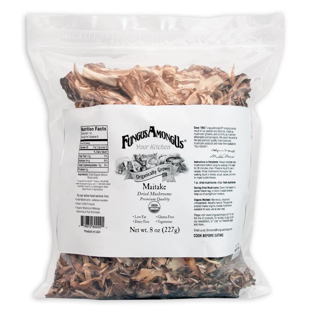 Bulk Dried Organic Maitake Mushrooms – 8 oz – FungusAmongUs