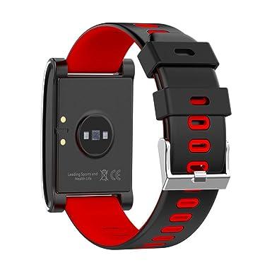 Reloj Inteligente Xinan DM68 Plus Fitness Tracker Presión arterial Monitor de frecuencia cardíaca Llamadas Mensajes Mira para SmartPhone (❤️Rojo): ...