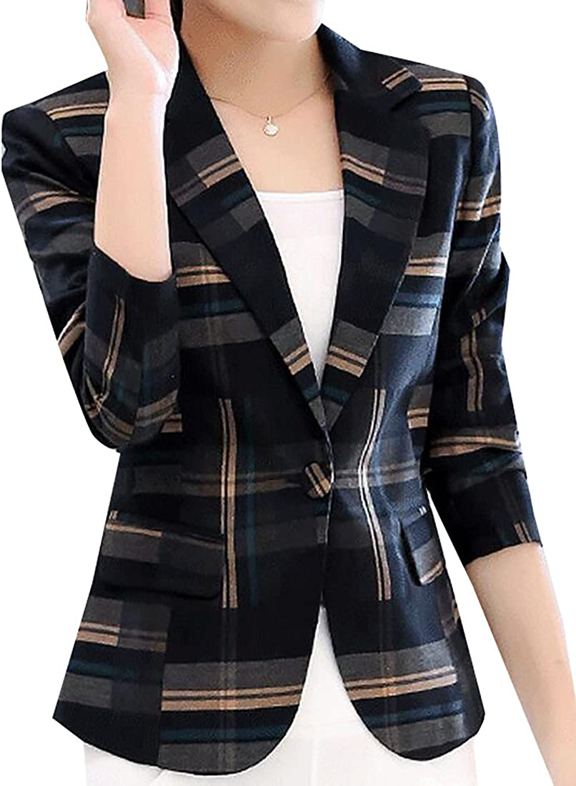 Fubotevic Mens Regular Fit Long Sleeve 2-Button Checkered Casual Business Blazer Jacket