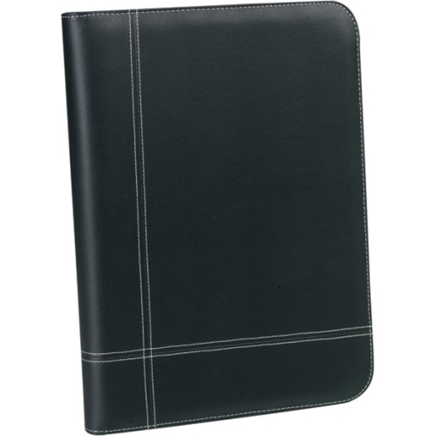 Portfolio, BuyAgain Black G-9 Soft Leatherette Professional Bussines Resume document Organizer Padfolio Portfolio with Zippered Closure, 3 Ring Binder & A Built In Solar Calculator.