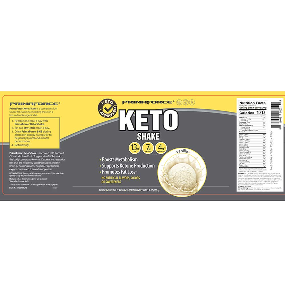 PrimaForce KetoShake - Keto MCT Meal Replacement - Curbs Appetite / SupportsWeight Loss / Enhances Ketosis - Vanilla, 20 Servings