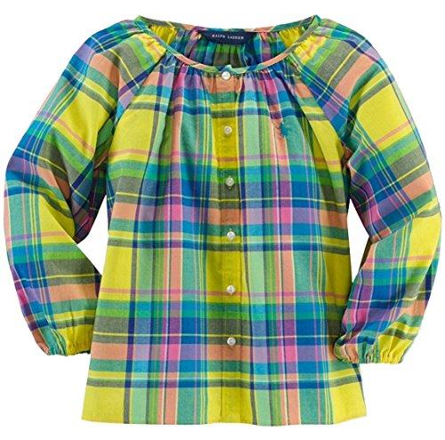Ralph Lauren Little Girls' 5-7 Madras Plaid Shirt Top-YM-6X