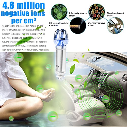 2017 Mini Auto Car Fresh Air Ionic Purifier Oxygen Bar Ozone Ionizer Cleaner NEW