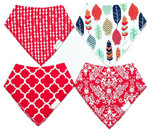 Set of Baby Bibs from Bearcub - Organic Cotton - FREE Ultra Soft Baby Washcloth Included Boys Plain Front Stain